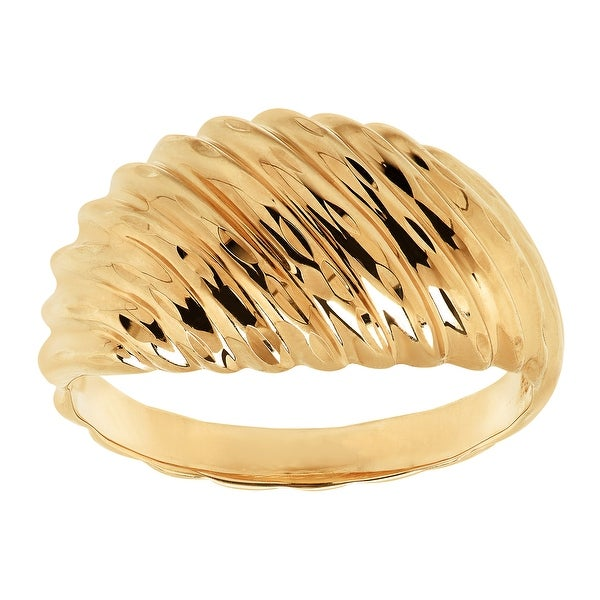 Just Gold Ribbed Swirl Dome Ring in 14K Gold - Yellow