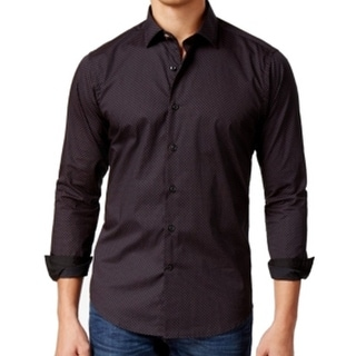 Tallia NEW Black Red Mens Size Small S Woven Button Down Neat Shirt