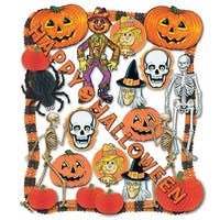 25-Piece Orange and Black Halloween Pumpkin, Bat and Skeleton Decoration Kit
