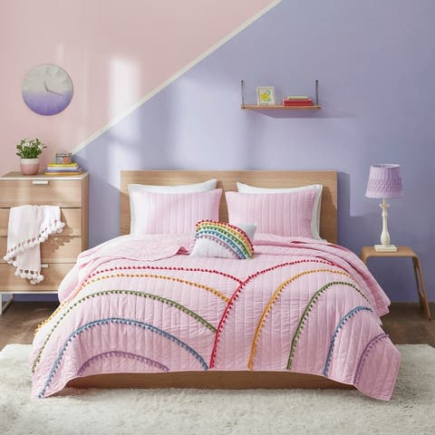 Naomi Pink Rainbow Coverlet Set With Pompom Trim by Mi Zone