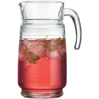Palais Glassware 64 Ounce Capacity Clear Glass Pitcher Striped Design.