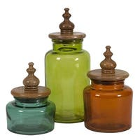 3 Rich Jewel Tone Blue, Green and Orange Glass Canisters with Mango Wood Lids - Multi