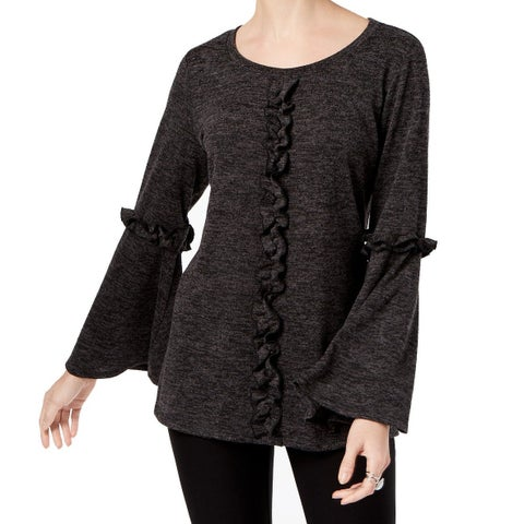 NY Collection Black Womens Size XL Ruffled Bell Sleeve Blouse