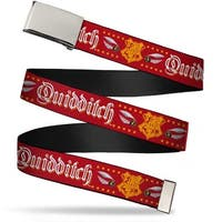 Blank Chrome Buckle Hogwarts Crest Quidditch Ball Red Gold White Web Belt