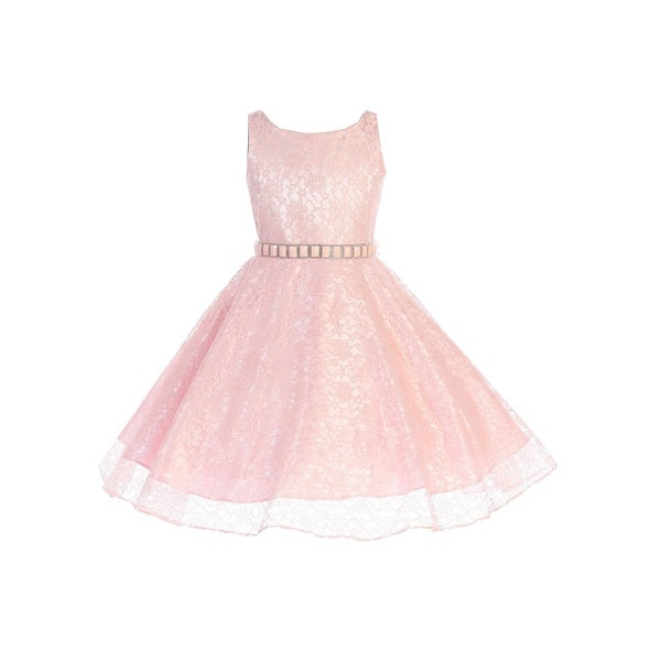 80cd82d9f Shop Girls Blush Floral Lace Rhinestone Accented Junior Bridesmaid Dress - Free  Shipping On Orders Over $45 - Overstock - 23614069