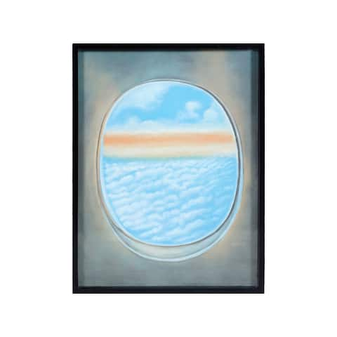 """Dimond Home 7011-1390E Plane Window 40"""" x 30"""" """"Plane Window V"""" Framed Painting on Gallery Stretched Canvas - Blue"""