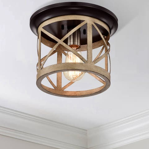 1-Light Oil-rubbed Bronze and Briarwood Finish Cage Drum Flush Mount
