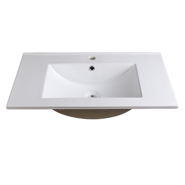 """Fresca FVS8130 Allier 30"""" Ceramic Drop In Vanity Top with an Integrated Sink, Single Faucet Hole and Overflow - White"""