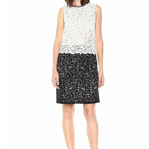 Tommy Hilfiger Ivory Women's Size 6 Lace Popover Colorblock Dress