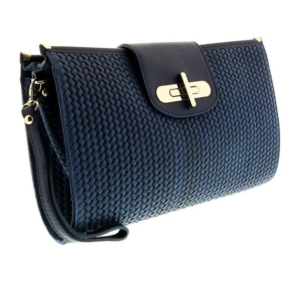 HS1156  BLU CORA  Blue Leather Clutch/Shoulder Bag - 13-8.5-2