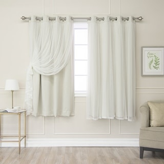 Link to Aurora Home Gathered Tulle Overlay Blackout Curtain Panel Pair Similar Items in Curtains & Drapes