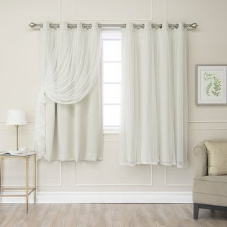 Aurora Home Gathered Tulle Overlay Blackout Curtain Panel Pair