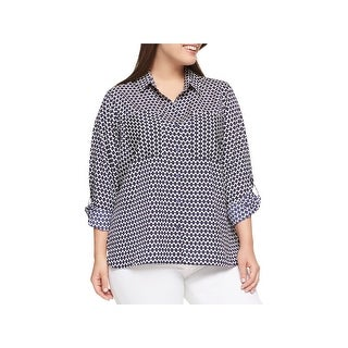 Tommy Hilfiger Womens Plus Casual Top Printed Button Down