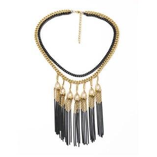 Statement Black & Gold Tassel Chain Necklace