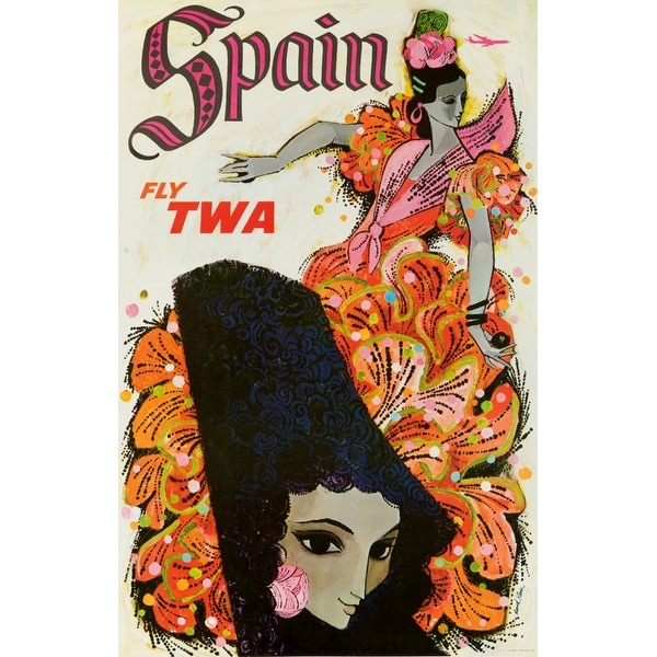 TWA - Spain Klein 1955 Vintage Ad (Light Switchplate Cover)