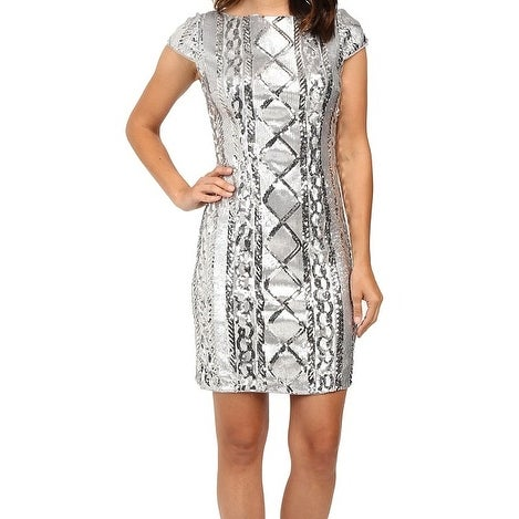 fa35b0416e Shop Adrianna Papell NEW Silver Women s Size 14 Sheath Geo Sequin Dress -  Free Shipping Today - Overstock - 16944038