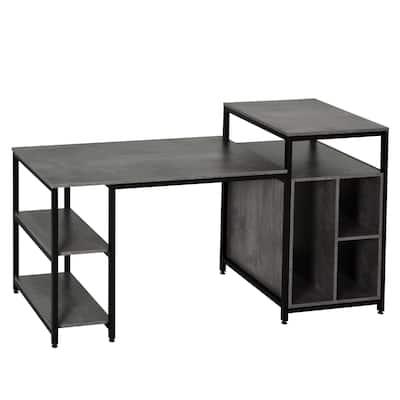 HomCom Office Table Computer Desk Workstation with Spacious Storage Shelves & Chic Modern Woodgrain Design