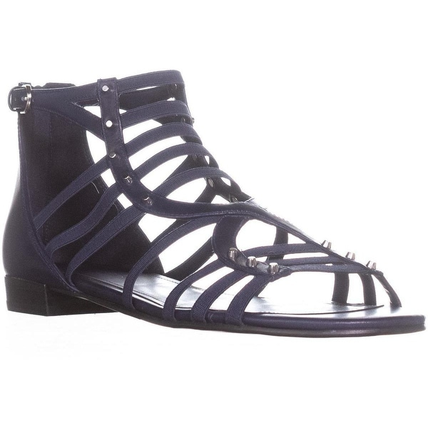 Marc Fisher Partner Ankle Strap Flats Sandals, Dark Blue Leather
