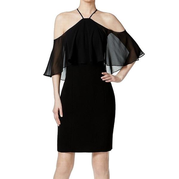 1520dd5a6f4 Shop Calvin Klein Black Womens Size 8 Chiffon Halter Sheath Dress - On Sale  - Free Shipping Today - Overstock - 27044579