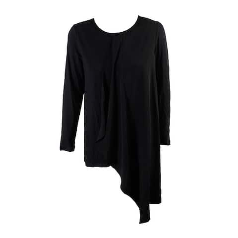 Alfani Deep Black Draped Asymmetrical Tunic S