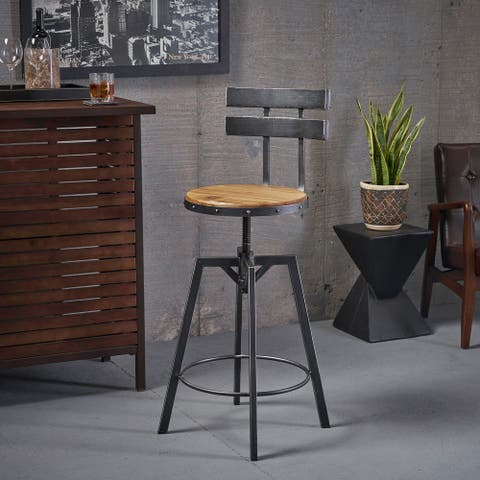 Jutte Rustic Iron Adjustable Bar Stool by Christopher Knight Home - N/A