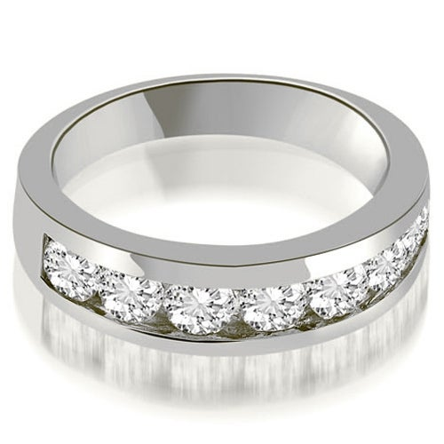 1.40 cttw. 14K White Gold Classic Channel Round Cut Diamond Wedding Band