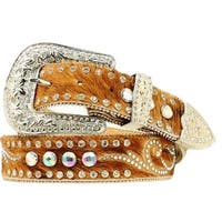 Nocona Western Belt Womens Leather Hair Rhinestones Brown