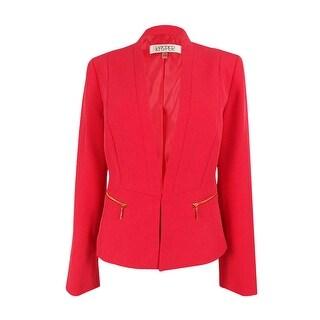 Kasper Women's Petite Crepe Zip Pockets Jacket 4, Flamingo - 4