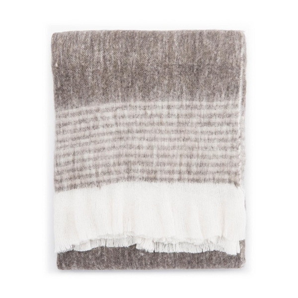 "Ivory/Gray Wool, Acrylic & Polyester Throw - HAM01 50""x60"""