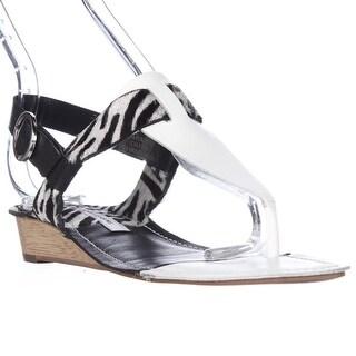 Diane von Frustenberg Dion T-Strap Low Wedge Sandals, White/Zebra - 5.5 us