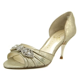 Ivanka Trump Nanci Women Peep-Toe Leather Gold Heels
