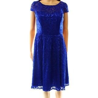 Marina NEW Blue Women's Size 8 Pleated Floral Lace Sheath Dress