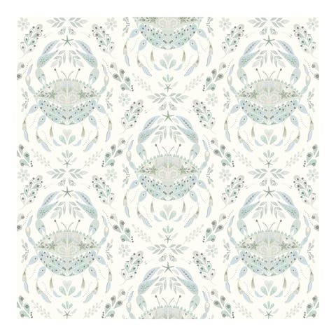 Annapolis Teal Crustation Wallpaper - 20.5 x 396 x 0.025