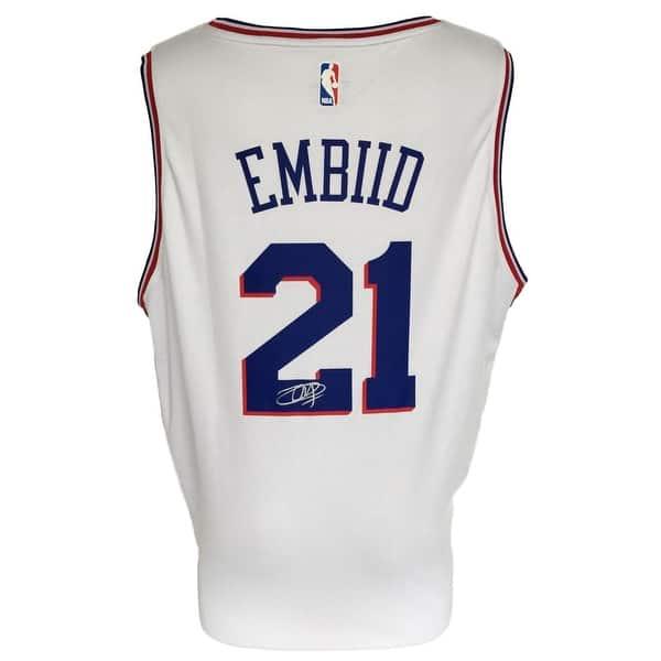 new style a54cc 00513 Joel Embiid Signed Philadelphia 76ers White Nike Replica Jersey Fanatics