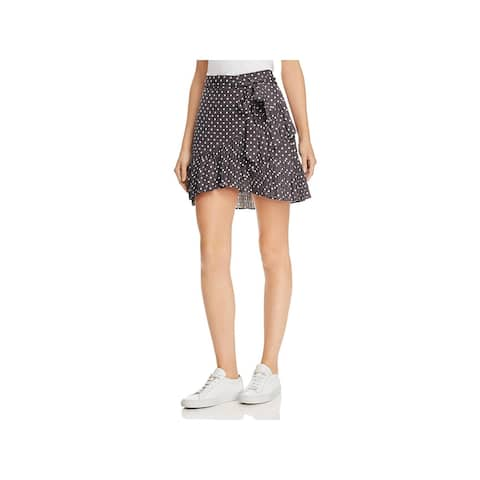 Bardot Womens Spotty Mini Skirt Linen Ruffled - Charcoal