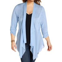 NY Collection Womens Cardigan Sweater Chiffon Trim Open Front