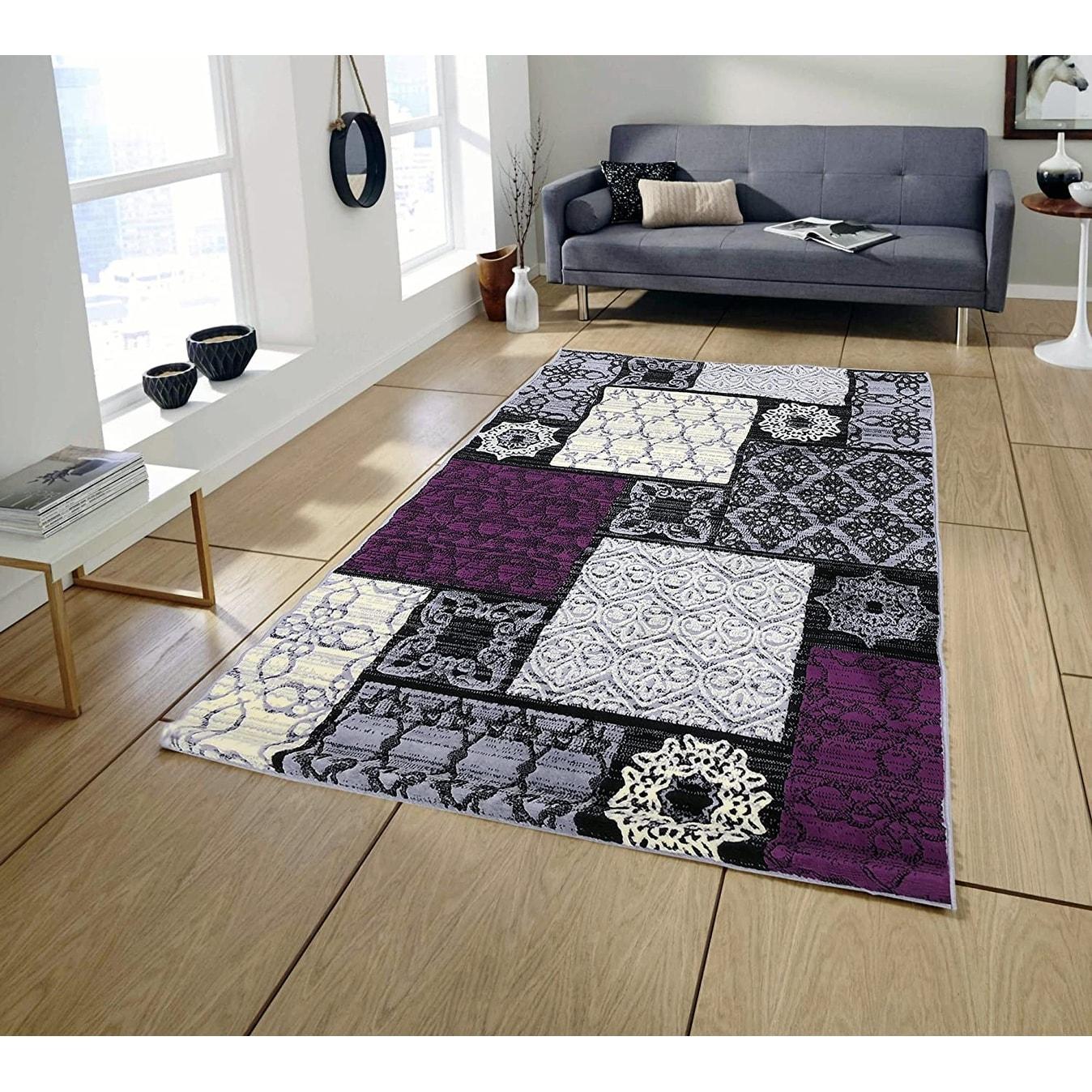 Pyramid Decor Area Rugs Grey Violet Modern Geometric Design 5 2 X 7 3 Overstock 24087055