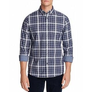 Michael Kors NEW Blue Mens Size XL Button Down Plaid Tailored Fit Shirt