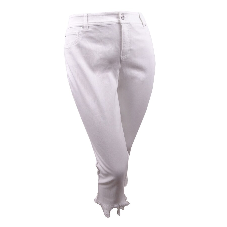 INC Womens White Denim Slim Tech Fit Pants Cropped Jeans Plus 14W
