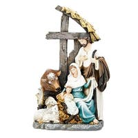 "11"" Holy Family with Cross Stable Christmas Nativity Figurine - Brown"