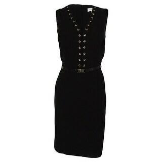 Calvin Klein Women's Belted Sleeveless V-Neck Dress
