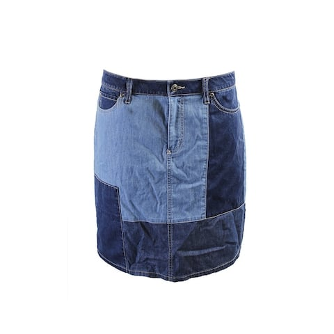 Two By Vince Camuto Blue Patchwork Denim Skirt 10