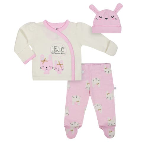 Just Born Bunny 3-Piece Organic Take me Home Outfit - pink/taupe