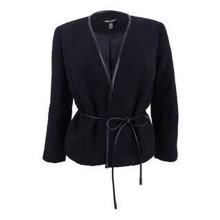 Nine West Women's Faux-Leather Tie-Waist Jacket - Black