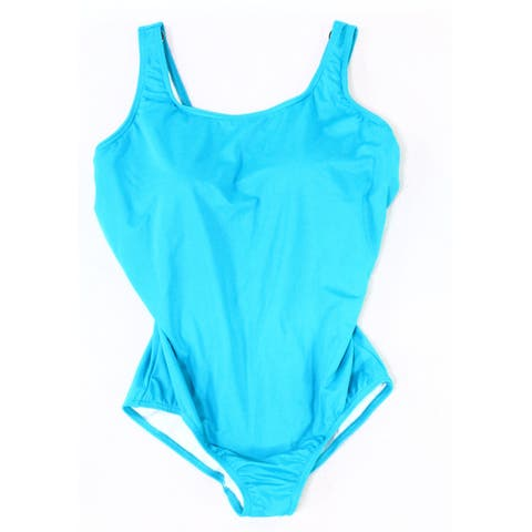 Lands' End Women Swimwear Blue Size 16W Plus Padded Scoop Neck One-Piece