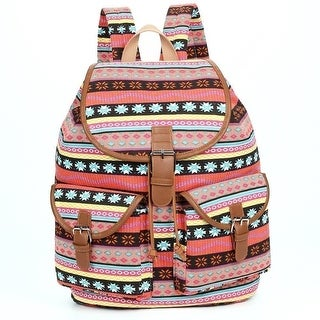 Hearty Trendy Girls Purple Motif Print Flap Pockets Cotton Canvas Backpack