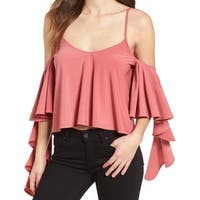 Leith Pink Women's Size XS Ruffle Sleeve Cold Shoulder Blouse