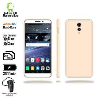 "Indigi GSM Unlocked 4G LTE 5.6"" Android 6 Smartphone (2SIM + Quad-Core @ 1.2GHz + Fingerprint Scanner) + Bluetooth Headset"