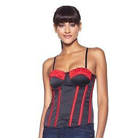 Skweez Couture Lace and Satin Boned Corset, Red/Black, L/XL