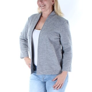 ANNE KLEIN $119 Womens New 3625 Gray Long Sleeve Open Cardigan Casual Top L B+B